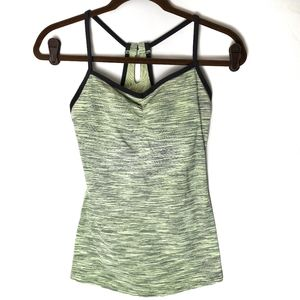 Lucy Green and Gray Striped Keyhole Back Tank
